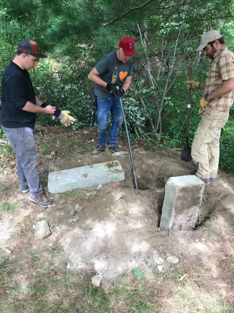 A second team set out to create an off-site oasis for the employees of nearby businesses by clearing a view of the brook and building a bench.